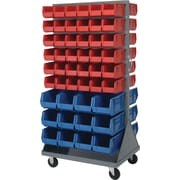 """Quantum 25"""" X 72"""" Storage System Mobile Louvered Rack with Bins (QMD-36H)"""