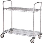 "Stainless Steel Standard-Duty Utility Carts, 3-Shelves, 24"" x 36"" (MW712)"