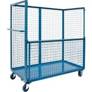 "Kleton Wire Mesh Stock Truck, Steel, 24"" x 55"" x 48"", with Drop-Gate, Blue (MO049)"