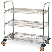 "Stainless Steel Standard-Duty Utility Carts, 3-Shelves, 18"" x 30"" (MW704)"