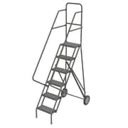 "Tri-Arc Roll & Fold Rolling Ladder, 6 Step, 66"" Height, Perforated"