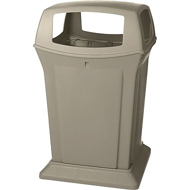 Rubbermaid Ranger® Waste Container, Beige, 45 Gallons with 4 Door Top (FG917388BEIG)