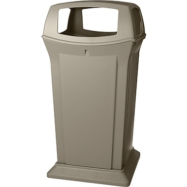 Rubbermaid RangerMD – Conteneur de déchets, beige, 65 gallons avec 4 ouvertures (FG917600BEIG)