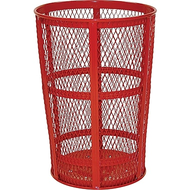 Rubbermaid Wastebasket Wire Mesh 45 Gallons, Red (FGSBR52RD)