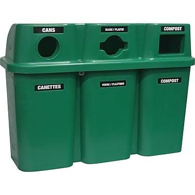 Techstar Plastics – Contenant de recyclage triple Bullseye, 75 gallons, vert (575-GREEN)