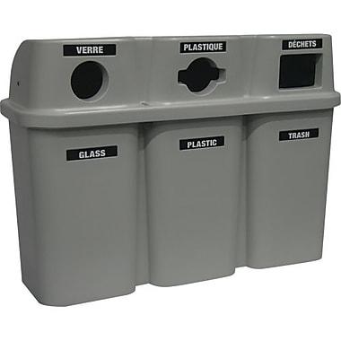 Techstar Plastics – Contenant triple de recyclage Bullseye, 75 gallons, gris (575-GREY)