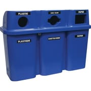 Techstar Plastics – Contenant de recyclage triple Bullseye, 75 gallons, bleu (575-BLUE)