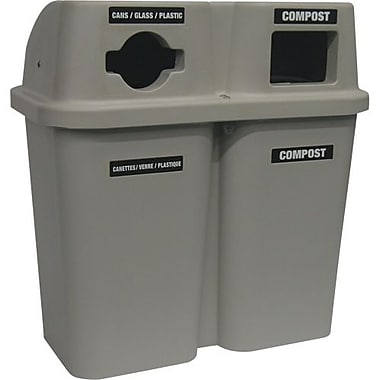 Techstar Plastics Bulls eye Recycling Container Double, 60 Gallons, Grey (565-GREY)