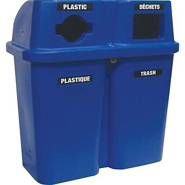 Techstar Plastics – Contenant de recyclage double Bullseye, 60 gallons, bleu (565-BLUE)