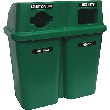 Techstar Plastics – Contenant de recyclage double Bullseye, 60 gallons, vert (565-GREEN)