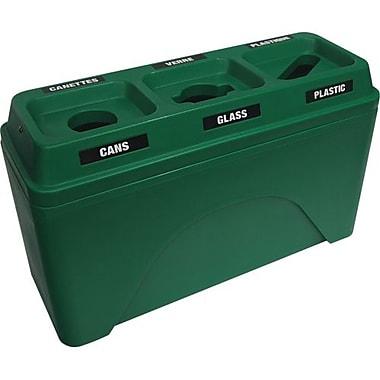 Techstar Plastics – Contenant de recyclage triple Bullseye, 58 gallons, vert (595-GREEN)