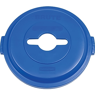 Rubbermaid BRUTE® Single Stream Recycling Top, 32 Gallons, Blue (1788380)