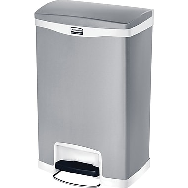 Rubbermaid Slim JimMD – Bac à ordures Step-On, en résine, pédale à l'avant, 8 gallons