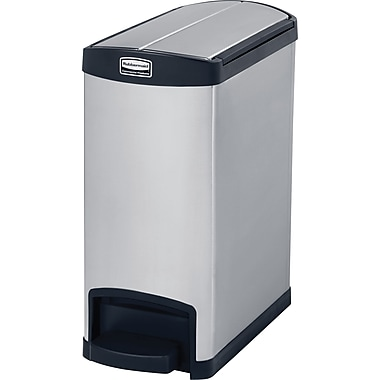 Rubbermaid Slim Jim® Waste Container, Step-on, End, 8 Gallons, stainless steele, Black (1901986)