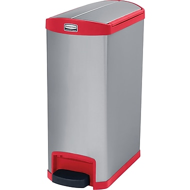 Rubbermaid Slim JimMD – Bac à ordures Step-on, pédale à l'extrémité, 8 gallons, acier inoxydable, rouge (1901989)