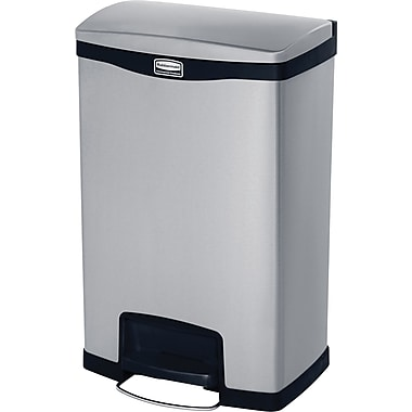 Rubbermaid Slim Jim® Waste Container, Step-on, Front, 13 Gallons, stainless steele, Black (1901992)