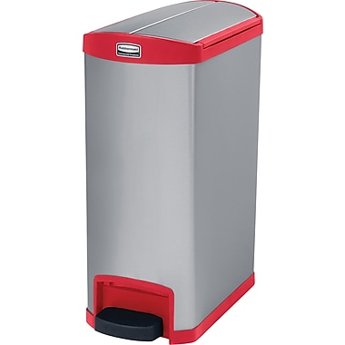 Rubbermaid Slim JimMD – Bac à ordures Step-on, pédale à l'extrémité, 13 gallons, acier inoxydable, rouge (1901996)