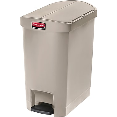 Rubbermaid Slim Jim® Waste Container, Resin, End Step On, 8 Gallons, Beige (1883457)