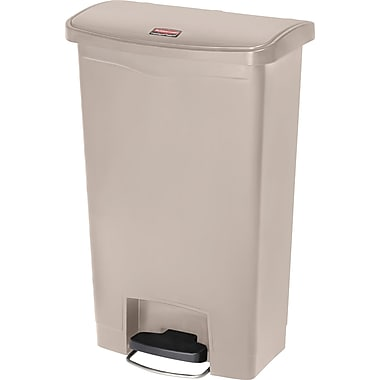 Rubbermaid Slim JimMD – Bac à ordures Step-On, en résine, pédale à l'avant, 13 gallons, beige (1883458)