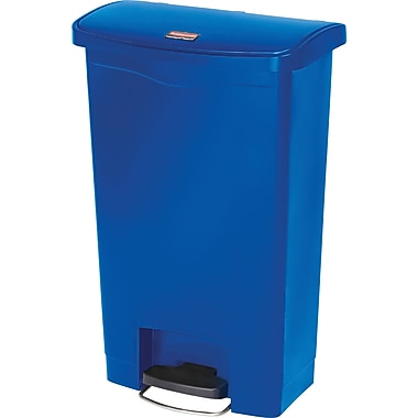 Rubbermaid Slim Jim® Waste Container, Resin, Front Step On, 8 Gallons, Blue (1883591)