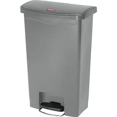 Rubbermaid Slim JimMD – Bac à ordures Step-On, en résine, pédale à l'avant, 18 gallons, gris (1883604)