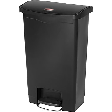 Rubbermaid Slim JimMD – Bac à ordures Step-On, en résine, pédale à l'avant, 13 gallons, noir (1883611)