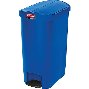Rubbermaid Slim JimMD – Bac à ordures Step-On, en résine, pédale à l'extrémité, 13 gallons, bleu (1883594)