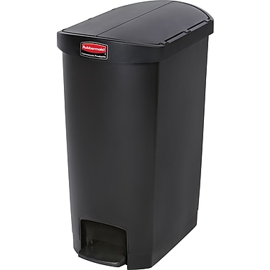 Rubbermaid Slim Jim® Waste Container, Resin, End Step On, 18 Gallons, Black (1883614)