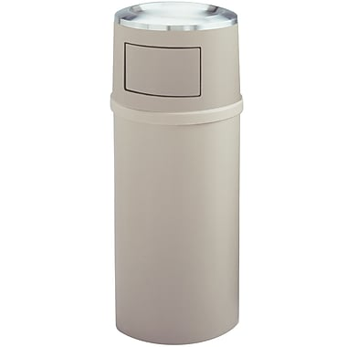 Rubbermaid Wastebasket Beige 21 Gallons with Ashtray & Doors 18.5
