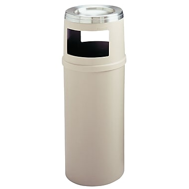 Rubbermaid Wastebasket Beige 15 Gallons with Ashtray, No Doors 15.5D (FG818588BEIG)