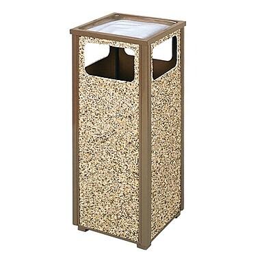 Rubbermaid – Poubelle décorée de pierres brunes et dotée d'un cendrier, 13,5 po2 x 32 haut. (po) (FGR12SU201PL)