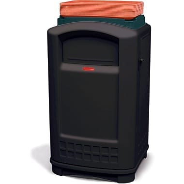 Rubbermaid Plaza® Container with Tray Black 50 Gallon (FG396300BLA)