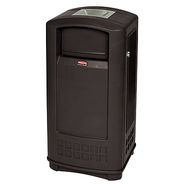 Rubbermaid Plaza® Container with Ashtray, 35 Gallon Black (FG9P9100BLA)