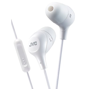 JVC - Écouteurs intra-auriculaires HA-FX38M-W Marshmallow avec microphone et télécommande, blanc
