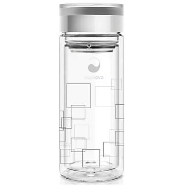 Aquaovo – Bouteille d'eau isotherme en verre, 16 oz, gris (GEO-TETRA-SIL)