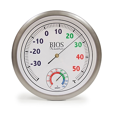 BIOS Weather Colour Dial Thermometer with Hygrometer, 12