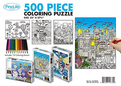 500 Piece Coloring Puzzle with Coloring Pencils 3 Asst.
