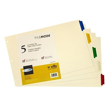 Filemode – Intercalaires en manille, 5 onglets, 11 x 17 po, 6/paquet