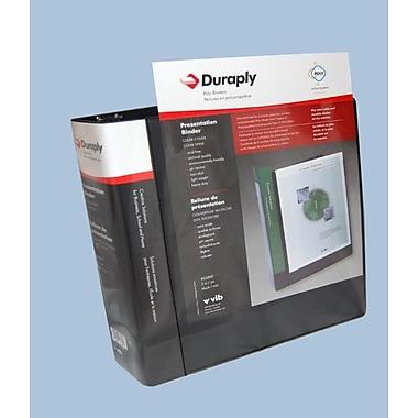 Duraply – Reliure de présentation en poly, noir, anneaux en D de 1 po, 4/paquet