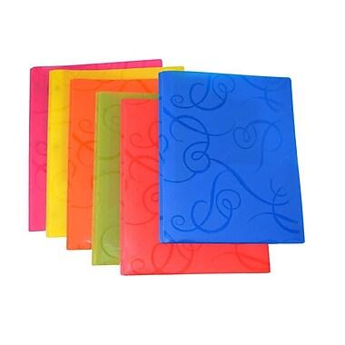 Chemise de présentation avec tourbillons à 2 pochettes avec broche à quatre attaches en métal, couleurs variées, 12/pqt