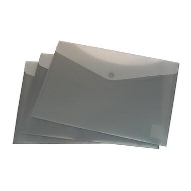Filexec – Enveloppes en poly givrées, 2 pochettes, fermeture à bouton pression, anthracite, 24/paquet