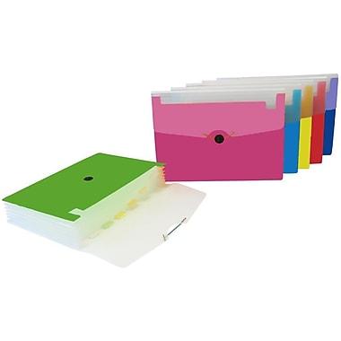 VLB – Classeur expansible givré décoré, 6 pochettes, format lettre, couleurs variées, 4/paquet