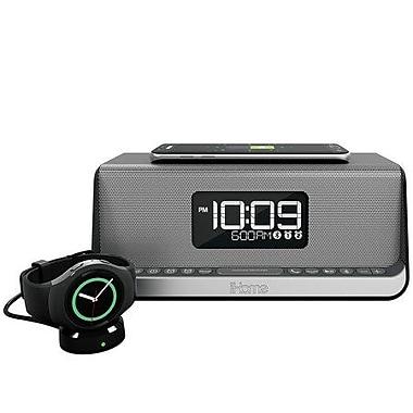 iHOME – Réveil à double alarme sans fil NFC iBN350 avec haut-parleur, métallique