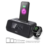 iHome iPLWBT5B Bluetooth Alarm Clock with Speakerphone & Apple Watch Charger, Black