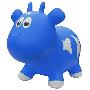 Farm Hoppers Cow Inflatable Bouncing Toy, Blue