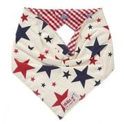 Skibz Bibs – Bavettes en bandana étoiles bleues et guingan rouge
