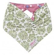 Skibz Bibs Green Floral Pink Dot Bribble Bib
