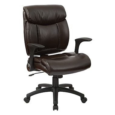 Office Star Work Smart – Fauteuil de direction, similicuir, avec accoudoirs relevables, chocolat