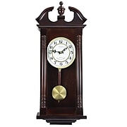 """Bedford Analog 27 1/2"""" Cherry Oak Classic Chiming Wall Clock (BED-1912)"""
