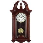 "Bedford Analog 26 1/2"" Mahogany Cherry Oak Colonial Chiming Wall Clock (BED-1915)"